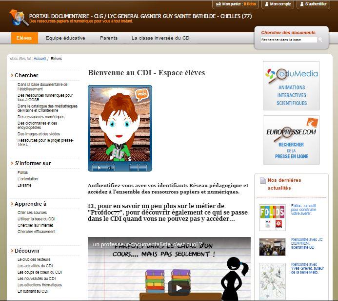 Page accueil Esidoc GGSB